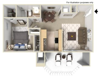 Chablis Floor Plan - 1 Bed 1 Bath, at Tusany Ridge Apartments , 41955 Margarita Road