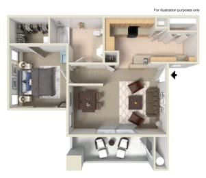 A3 1 Bed 1 Bath Floor Plan at Waterstone Apartments,  1951 West Middlefield Drive