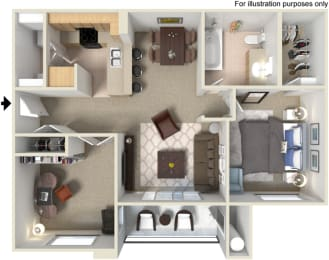 A4 1 Bed 1 Bath Floor Plan at Waterstone Apartments, Tracy, 95377