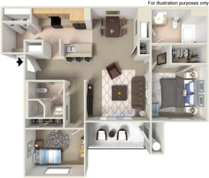 B1 2 Bed 2 Bath Floorplan at Waterstone Apartments, 1951 West Middlefield Drive