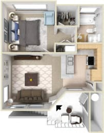 Floor Plan 1 Bedroom - Plan A
