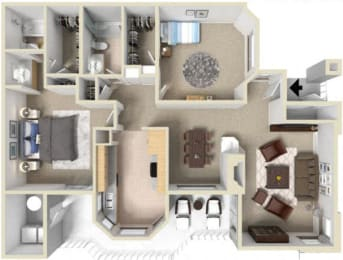 2 bedroom floor plan at La Serena apartments in Rancho Bernardo, 92128