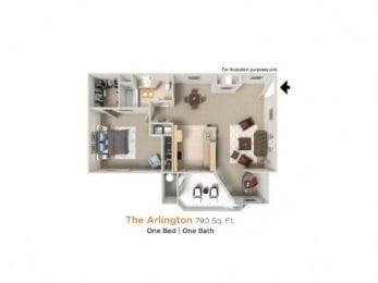 Arlington Premier  - 1 Bedroom 1 Bath Floor Plan Layout - 790 Square Feet