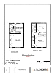 Floor Plan 2 Bedroom - 1 Bathroom