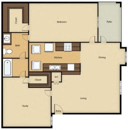 Floor Plan 2BR, 1BTH - A