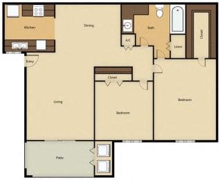 Floor Plan 2BR, 1BTH - B