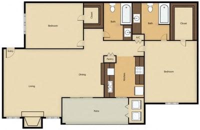 Floor Plan 2BR, 2BTH - C
