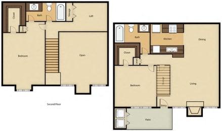 Floor Plan 2BR, 2BTH - E