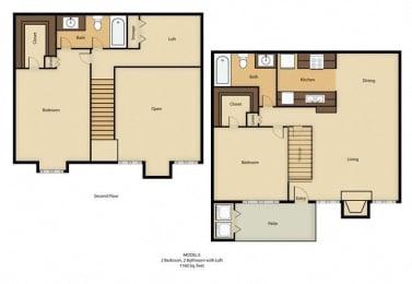 Floor Plan 2BR, 2BTH - E1