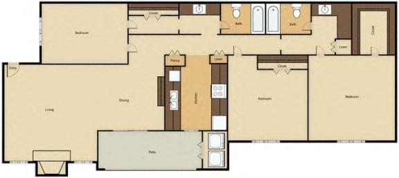 Floor Plan 3BR, 2BTH - F
