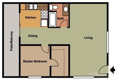 1 Bed 1 Bath Floorplan at Terramonte Apartment Homes, CA 91767