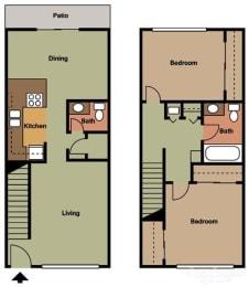 2 Bed 2 Bath Townhouse Floorplan at Terramonte Apartment Homes, Pomona, CA