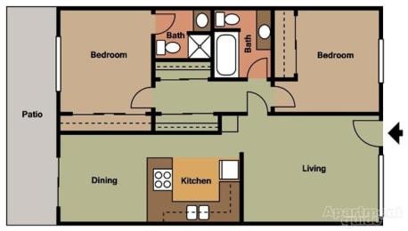 2 Bed 2 Bath Floorplan at Terramonte Apartment Homes, CA 91767