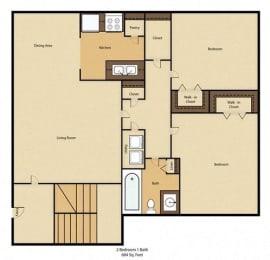 Floor Plan 1BR,1BTH
