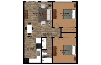 U bldg 760 sqft 2bd Floor Plan at -The Lodge-, Boulder