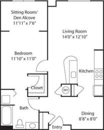 B5 with Den- 55+ Adult Living Floorplan at Reunion at Redmond Ridge, Redmond, 98053