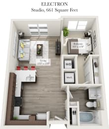 Electron Studio Floor Plan of the Venture Apartments iN Tech Center in Newport News VA