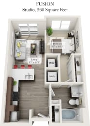 Fusion Floor Plan of the Venture Apartments iN Tech Center in Newport News VA