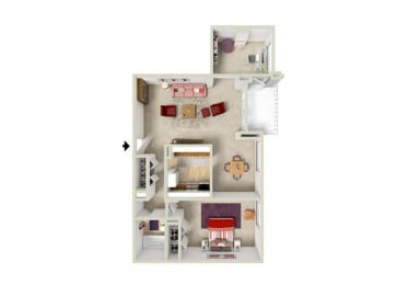 Floor Plan 1 BDRM & DEN