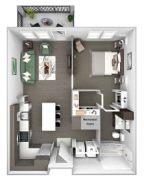 Nona Park Village - A1 - Foxtail - 1 bedroom - 1 bath - 3D Floor Plan