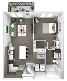 Nona Park Village - A2 - Camellia - 1 bedroom - 1 bath - 3D Floor Plan