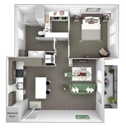 Nona Park Village - A3 - Hibiscus - 1 bedroom - 1 bath - 3D Floor Plan