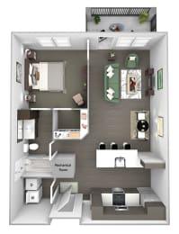 Nona Park Village - A4 - Gardenia - 1 bedroom - 1 bath - 3D Floor Plan