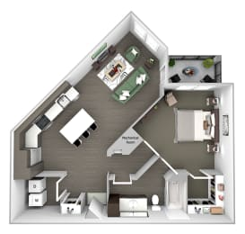 Nona Park Village - A5 (Ginger) - 1 bedroom - 1 bath - 3D Floor Plan