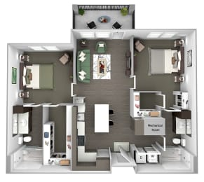 Nona Park Village - B1 (Iris) - 2 bedroom - 2 bath - 3D Floor Plan