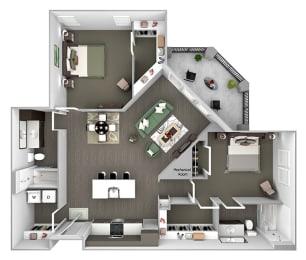 Nona Park Village - B3 (Orchid) - 2 bedroom - 2 bath - 3D Floor Plan