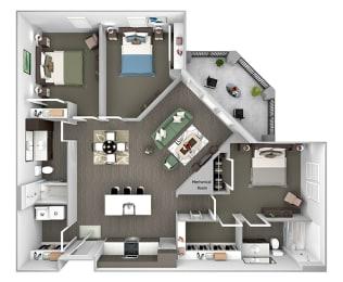 Nona Park Village - C1 (Saw Grass) - 3 bedroom - 2 bath - 3D Floor Plans