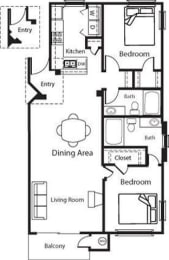 Andalusian - 2 Bedroom 2 Bath Floor Plan Layout - 1114 Square Feet