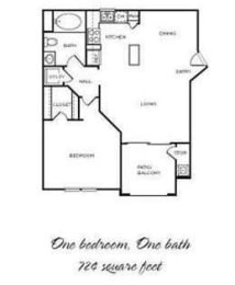 Paso Fino - 1 Bedroom 1 Bath Floor Plan Layout - 724 Square Feet