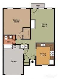 1 Bed, 1 Bath Floor Plan at Shenandoah Properties, Lafayette, IN, 47905