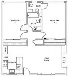 Floor Plan 2 Bedroom 1.5 Bathroom