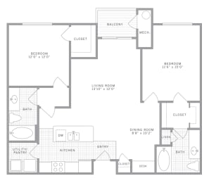 B1 Floor Plan at AVE Union, New Jersey, 07083