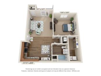 Ardmore Cates Creek 1 Bedroom, 1 Bathroom Floor Plan