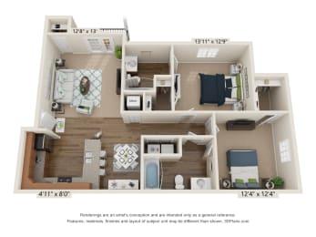 Ardmore Cates Creek 2 Bedroom, 2 Bathroom Floor Plan