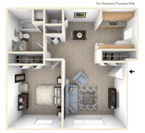 One Bedroom - Expanded Floor Plan at Walnut Trail Apartments, Michigan, 49002
