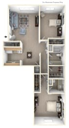 Two Bedroom Walk-thru Floor Plan at Walnut Trail Apartments, Portage, 49002