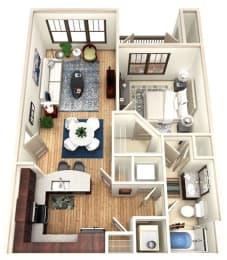 One Bedroom One Bathroom Luxury Floor Plan with Balcony Marietta, GA