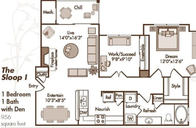 1 Bedroom apartment with Den, Updated Kitchen featuring Breakfast Bar and Pantry, Open-Concept Living and Dining, Washer/Dryer, Queen Size Bedroom, Walk in Closet, Patio or Balcony and Optional Fireplace in Select Homes