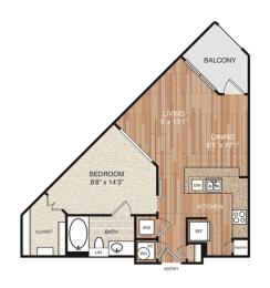 A2 Floor Plan at Berkshire Medical District, Dallas, TX, 75219
