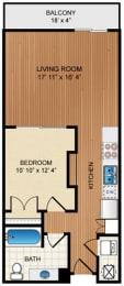1 Bed 1 Bath Floor Plan at Eon at Lindbergh, Atlanta, GA, 30324