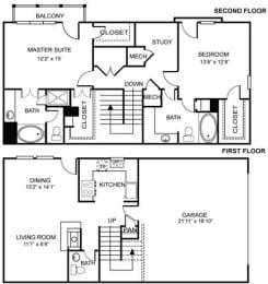 2x2.5 B1 Floor Plan at Estancia Townhomes, Dallas, TX