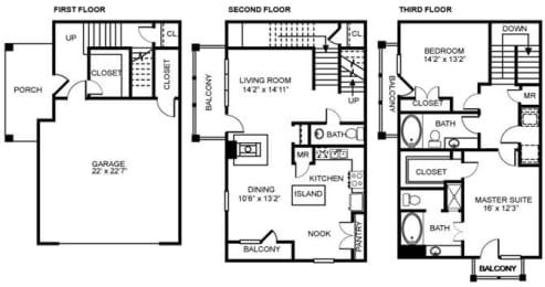 2x2.5 B2 Floor Plan at Estancia Townhomes, Dallas, 75248