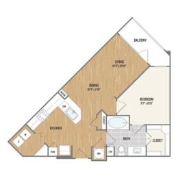 One-Bedroom Floor Plan at Berkshire Amber, Dallas