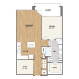 One-Bedroom Floor Plan at Berkshire Amber, Texas, 75248