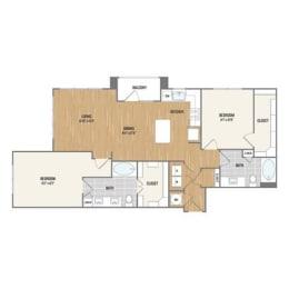 Two-Bedroom Floor Plan at Berkshire Amber, Dallas