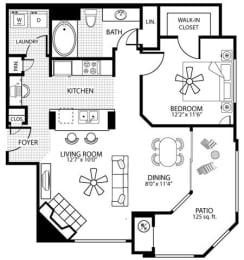 850 square Feet, 1 bedroom 1 bath, A3 Floorplan